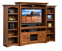 Liberty Mission Entertainment Center with Open Component Shelf and Optional Open Bookcases | Craftsman style. Three piece entertainment center with flat sides, arched bases, with crown molding. Center unit is taller, with three doors in base, center door is glass, side doors are wood with mullion detail, open component shelf, adjustable and removable shelf above TV. Side bookcases have four adjustable shelves each. | Rustic Quartersawn White Oak in Medium OCS110 | 102in W x 19 1/2in D x 71 1/2in H | The Amish Home | Amish Furniture at the Pittsburgh Mills