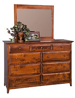 English Shaker Mule Dresser & Mirror|Brown Maple in Michaels OCS113|63in W x 22in D x 43in H|The Amish Home|Hardwood Furniture at the Pittsburgh Mills