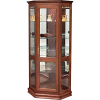 Corner Deluxe Curio | 4 adjustable shelves with plate groove, mirror back, clear glass, LED touch light, brass pull with lock, door hinged right | Brown Maple in Acres OCS106 | 36in W x 20 1/4in D x 73in H, 25 1/2in wall space | The Amish Home | Amish Furniture at the Pittsburgh Mills