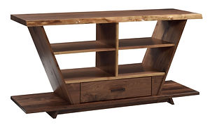 Junction TV Stand | 1 1/2in Live Edge Top. Sides of TV stand angle up and out to make a V shape. One drawer and open shelves. | Rustic Walnut in Natural OCS100 | 60in W x 18in D x 30in H | The Amish Home | Amish Furniture at the Pittsburgh Mills