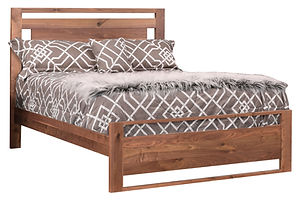 Odessa Panel Bed|Rustic Walnut in Natural OCS100|Headboard 52in H, footboard 20in H|The Amish Home|Amish Furniture at the Pittsburgh Mills