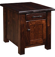 Barn Floor Enclosed End Table with drawer and door, iron drawer pull and knob. Rustic cherry end tables, Asbury stain. Modern farmhouse living room furniture, made in the USA