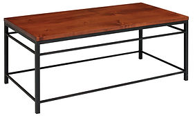 Cameron Industrial Style Coffee Table with metal base|Metal Base & Brown Maple in Michaels OCS113|48in W x 24in D x 19in H|The Amish Home|Amish Furniture at the Pittsburgh Mills