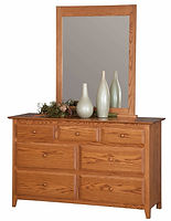 English Shaker 56in Dresser|Oak in Seely OCS104|56in W x 20 1/4in D x 35in H|The Amish Home|Hardwood Furniture at the Pittsburgh Mills