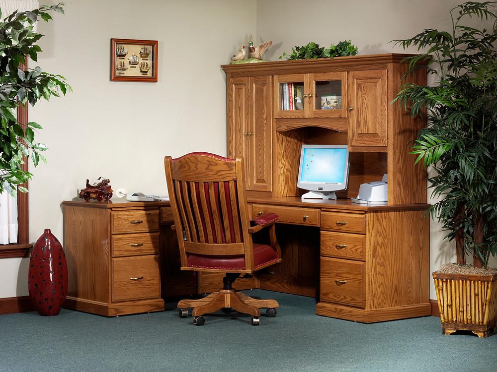 Classic Office L-Desk with Hutch in Oak - Home Office Furniture