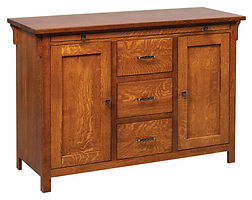 Keiran Buffet with pullout server tray|Quartersawn White Oak in Michaels OCS113|52 3/8in W x 19 1/2in D x 35 1/2in H|The Amish Home|Amish Furniture at the Pittsburgh Mills