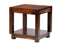 Urban End Table with drawer | Contemporary clean style with square legs, block feet, and satin nickel bar hardware. | Brown Maple in Rich Tobacco OCS228 | 24in W x 22in D x 24in H | The Amish Home | Amish Furniture at the Pittsburgh Mills