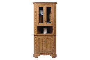 Americana Corner Hutch|Oak in Fruitwood OCS102|28in W x 25in D x 78in H|The Amish Home|Amish Furniture at the Pittsburgh Mills Amish Dining Solutions