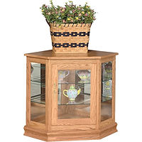 Console Corner Curio | 2 adjustable shelves with plate groove, mirror back, clear glass, LED touch light, brass plate with lock, door hinged right | Oak in S-2 OCS101 | 35in W x 24in D x 30in H, 23in wall space | The Amish Home | Amish Furniture at the Pittsburgh Mills