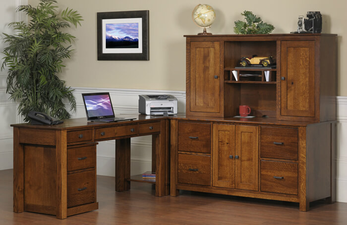 "The Mission Modular Office Collection is shown in quartersawn white oak  and includes a 60"" table desk, corner table, 60"" credenza, 60"" hutch, and rolling file cabinet"