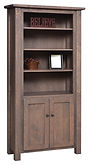 Barn Floor Bookcase with optional doors | Rustic Cherry in Cappuccino OCS119 | in W x in D x in H | The Amish Home | Amish Furniture at the Pittsburgh Mills