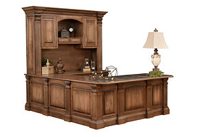 Montereau U-Shaped Desk with optional hutch | Brown Maple in Rock Tavern | 81in W x 99in D x 85 1/4in H | The Amish Home | Amish Furniture at the Pittsburgh Mills