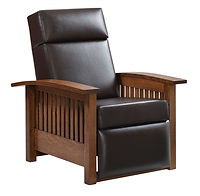 Liberty Mission Recliner | Shown with Chesterfield Mahogany Leather, also available with fabric upholstery. Craftsman style push-back recliner with open slat sides and arched arms. | Rustic Quartersawn White Oak in Medium OCS110 | 33 1/4in W x 37 1/4in D x 41 1/2in H | The Amish Home | Amish Furniture at the Pittsburgh Mills
