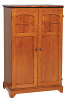 Petite Mission Computer Armoire|Quartersawn White Oak in Michaels OCS113|35in W x 21 1/2in D x 54in H|The Amish Home|Amish Furniture at the Pittsburgh Mills