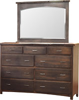 Pilgrim Mule Dresser with reclaimed barnwood|Brown Maple in Cappuccino OCS119|63in W x 20in D x 43in H|The Amish Home|Amish Furniture at the Pittsburgh Mills