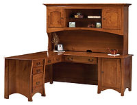 Master L-Desk with Hutch | Rustic Quartersawn White Oak in Michaels OCS113 | 75in W x 72in D x 71in H | The Amish Home | Amish Furniture at the Pittsburgh Mills