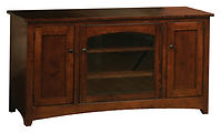 Wayne's Modern Shaker TV Stand on casters | Brown Maple in Rich Tobacco OCS228 | 60in W x 18in D x 30in H | The Amish Home | Amish Furniture at the Pittsburgh Mills
