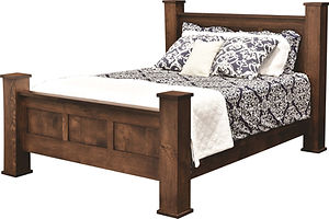 Bloomfield Poster Bed | Rustic Quartersawn White Oak in Michaels OCS113 | Headboard 60in H, footboard 30in H | The Amish Home | Amish Furniture at the Pittsburgh Mills
