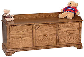 Traditional 3-Drawer Bench|Oak in Medium OCS110|50in W x 17 1/4in D x 23in H|The Amish Home|Amish Furniture at the Pittsburgh Mills