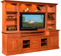 Clark Cabin Creek Style Entertainment Center|Rustic Cherry in Seely OCS104|96in W x 18 1/4in D x 83in H|The Amish Home|Amish Furniture at the Pittsburgh Mills
