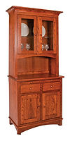 Rio 2 Door Hutch Oak in Michaels OCS113 38 1/2in W x 19 1/2in D x 82in H The Amish Home Amish Furniture at the Pittsburgh Mills