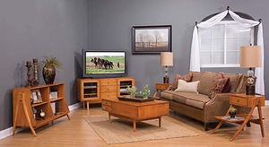 Brady Living Room Furniture Collection|TV Stand, Coffee Table, End Tables, Sofa Table|Solid Brown Maple in Michaels OCS113|The Amish Home|Amish Furniture at the Pittsburgh Mills