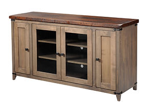 Frontier TV Stand|Reclaimed Barn Oak in Asbury OCS117|60in W x 18in D x 32in H|The Amish Home|Hardwood Furniture at the Pittsburgh Mills