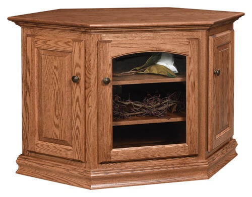 Traditional Cornwall TV Stand | Oak in Fruitwood OCS102 | 24in W x 48in D x 31in H, 34in wall space | The Amish Home | Amish Furniture at the Pittsburgh Mills