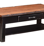 Reclaimed Barn Wood Coffee Table|Brown Maple in Onyx OCS230|48in W x 22in D x 18in H|The Amish Home|Amish Furniture at the Pittsburgh Mills