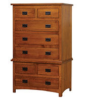 Michael's Mission Chest on Chest|Quartersawn White Oak in Michaels OCS113|37in W x 19 3/4in D x 60in H|The Amish Home|Amish Furniture at the Pittsburgh Mills
