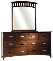 Cambrai Mission Dresser with Optional Mirror|Brown Maple in Onyx OCS230|72 1/2in W x 18 3/4in D x 38in H|The Amish Home|Amish Furniture at the Pittsburgh Mills