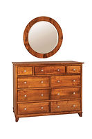 Hyland Park Mule Dresser with Optional Mirror|Brown Maple in Michaels OCS113|56in W x 19 3/4in D x 42in H|The Amish Home|Amish Furniture at the Pittsburgh Mills