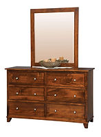 Hyland Park 56in Dresser & Mirror|Brown Maple in Michaels OCS113|56in W x 19 3/4in D x 35 3/4in H|The Amish Home|Hardwood Furniture at the Pittsburgh Mills