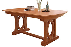 Empire Trestle Table | Shown with bow top end, waterfall edge. Butterfly leaf available. | Oak in Seely OCS104 | Many Sizes Available | The Amish Home | Amish Furniture at the Pittsburgh Mills