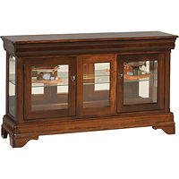 Louis Phillipe Large Console Curio | 2 adjustable shelves with plate groove, mirror back, clear glass, LED touch light, no lock, hidden drawer in trim | Cherry in Boston OCS111 | 51 1/2in W x 13 3/4in D x 30in H | The Amish Home | Amish Furniture at the Pittsburgh Mills