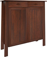 Sheridan Pie Safe with two doors and two drawers | with two adjustable shelves | Brown Maple in Rich Cherry OCS227 | 48in W x 16in D x 51in H | The Amish Home | Amish Furniture at the Pittsburgh Mills