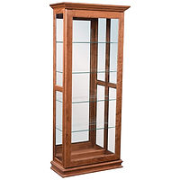 Sliding Door Picture Frame Curio | 4 adjustable shelves with plate groove, mirror back, clear glass, LED touch light, door slides left | Brown Maple in Michaels OCS113 | 31 1/2in W x 143/4in D x 72 1/2in H | The Amish Home | Amish Furniture at the Pittsburgh Mills