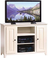 Economy TV Stand|Oak in China White Paint|45in W x 18in D x 32in H|The Amish Home|Hardwood Furniture at the Pittsburgh Mills
