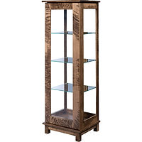 Tahoe Sliding Door Curio | 3 adjustable shelves with plate groove, mirror back, clear glass, LED touch light, door slides left | Rough Sawn  Brown Maple in Medium OCS110 | 20in W x 17in D x 59 3/4in H | The Amish Home | Amish Furniture at the Pittsburgh Mills