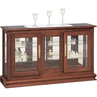 Large Console Curio | Glass top, 2 adjustable shelves with plate groove, mirror back, clear glass, no light, brass plate with lock | Cherry in Washington OCS107 | 50in W x 13 1/4in D x 30in H | The Amish Home | Amish Furniture at the Pittsburgh Mills