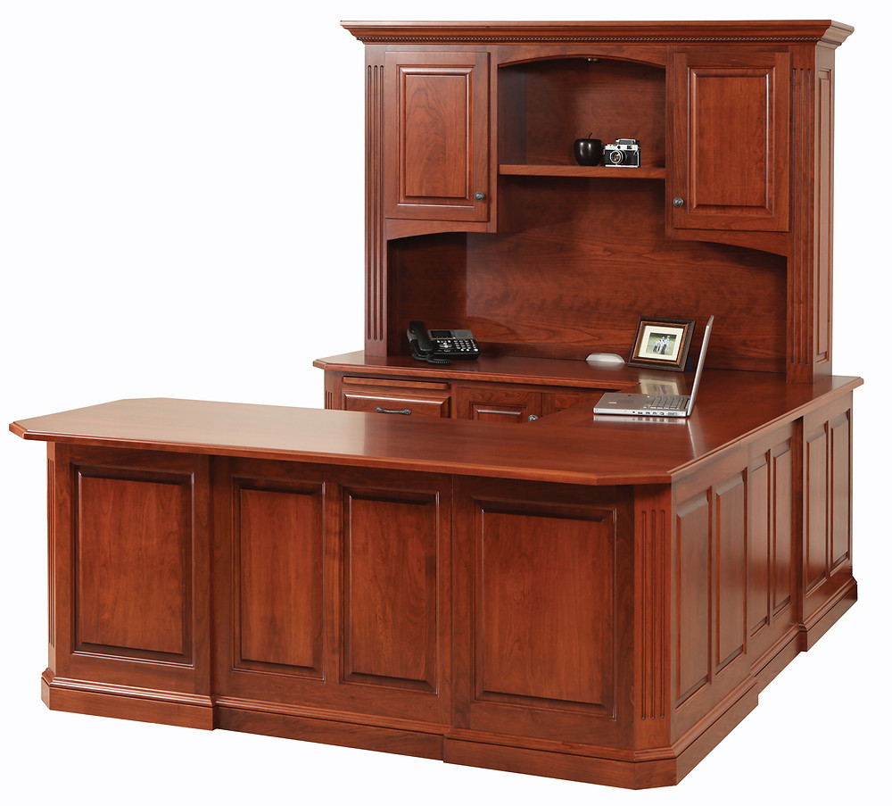 Lindsey U-Shaped Desk in Cherry - Home Office Furniture