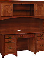 Master Desk with Hutch|Quartersawn White Oak in Michaels OCS113|73in W x 26in D x 71in H|The Amish Home|Amish Furniture at the Pittsburgh Mills