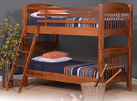 Colonial Twin over Twin Bunk Bed|Cherry in Michaels OCS113|82in W x 43in D x 71in H|The Amish Home|Amish Furniture at the Pittsburgh Mills