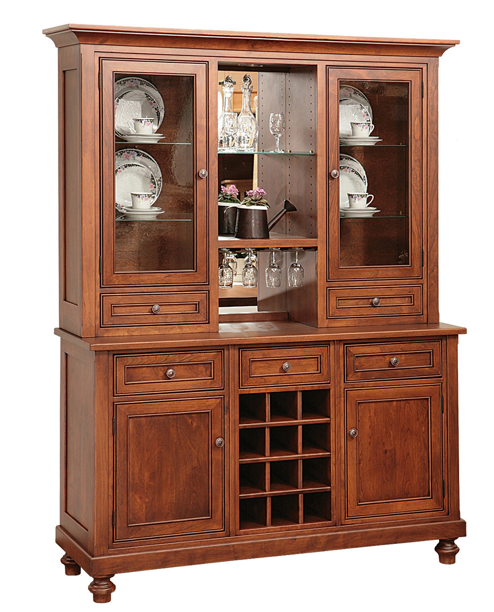 Rustic cherry china cabinet - Mayflower collection with wine rack