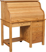 Junior's Computer Roll Top Desk | Oak in S-14 OCS108 | 44in W x 24in D x 50in H | The Amish Home | Amish Furniture at the Pittsburgh Mills