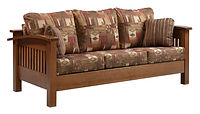 Liberty Mission Sofa | Shown with fabric upholstery, also available with leather. Craftsman style three cushion sofa with open slat sides & back, with arched arms. Includes two throw pillows. | Rustic Quartersawn White Oak in Medium OCS110 | 81 12in W x 40 1/2in D x 34in H | The Amish Home | Amish Furniture at the Pittsburgh Mills