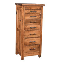 Alpine Rough Sawn Jewelry Armoire | 7 drawers, 1 with ring bar, 3 with wooden dividers, 3 with velvet bottom, side wings with 8 jewelry hooks each. Full extension drawer slides. | Brown Maple in Seely OCS104 | 19in W x 16 3/4in D x 48in H | The Amish Home | Amish Furniture at the Pittsburgh Mills
