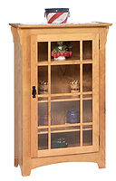 Small Mission Single Door Bookcase|Oak in Seely OCS104|31 1/2in W x 14in D x 48in H|The Amish Home|Amish Furniture at the Pittsburgh Mills