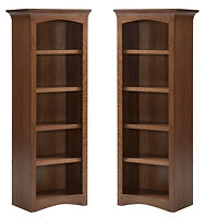 Liberty Mission Bookcase | Craftsman style. Flat sides, arched base, with crown molding. Four adjustable shelves. | Rustic Quartersawn White Oak in Medium OCS110 | 24in W x 16 1/4in D x 66 3/4in H | The Amish Home | Amish Furniture at the Pittsburgh Mills