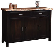 Adele 3 Door Buffet with live edge top|Brown Maple in Onyx OCS230|60in W x 20in D x 42in H|The Amish Home|Amish Furniture at the Pittsburgh Mills